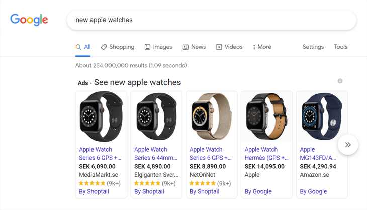 Example of product rich snippets on Google