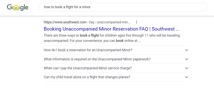 Example of a FAQ rich snippet on Google