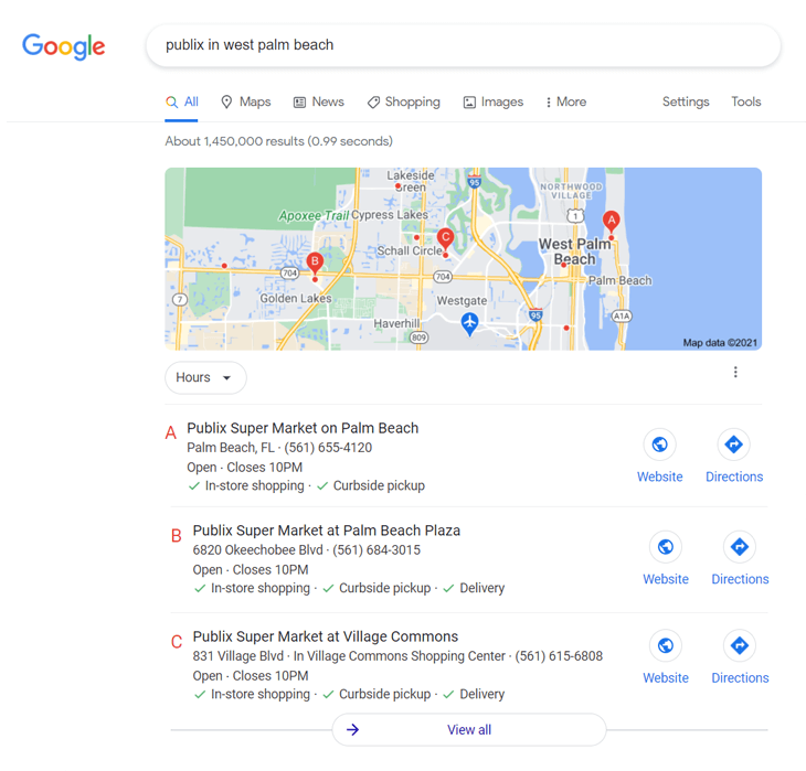 Example of a rich snippet on Google Maps