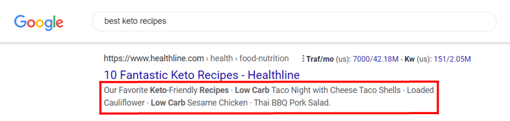 Example of a meta description in the search results on Google
