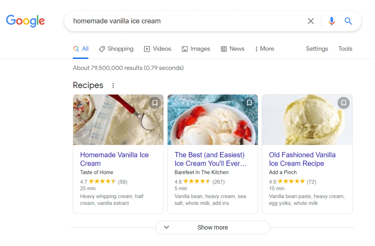 Example of recipe rich snippets on Google