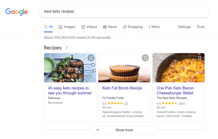 Examples of recipe snippets on Google