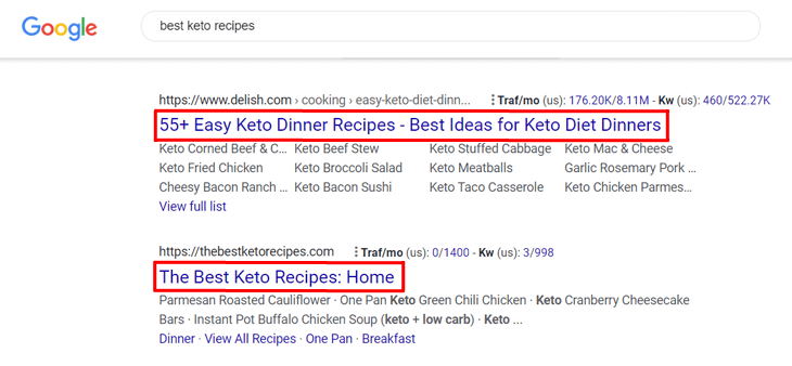 Examples of SEO title in the search results on Google