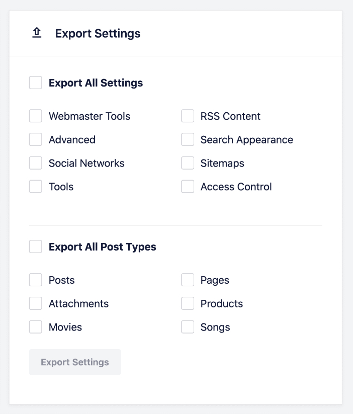 export seo settings in all in one seo