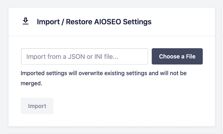 import seo settings from json file in all in one seo