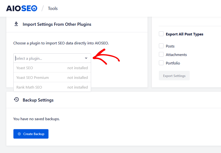 importing seo settings from other plugins in aioseo