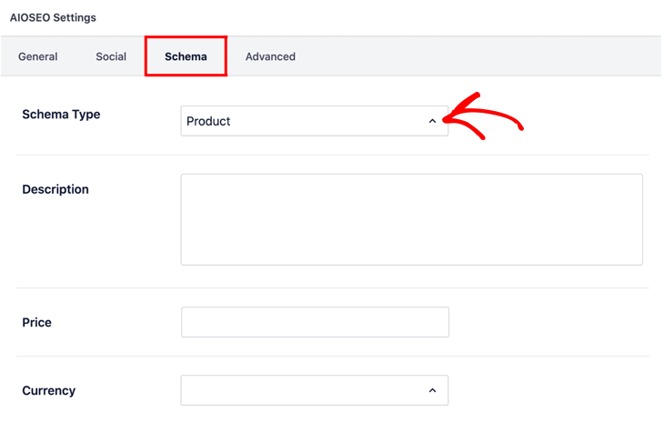 Setting product schema on your product page in All in One SEO