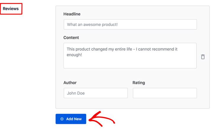 Adding your product or customer reviews in All in One SEO