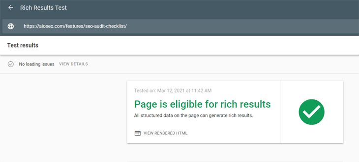 Google's rich results test