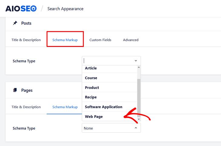 How to add FAQ schema in WordPress - setting web page as schema type