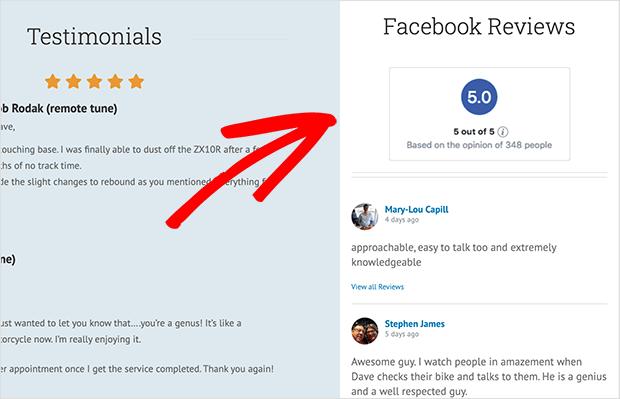Example of Smash Balloon's facebook reviews sidebar widget