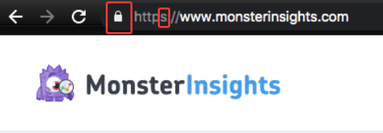 Example of encrypted website using https: MonterInsights