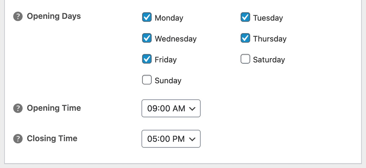 Local Business Schema Settings - Opening Time
