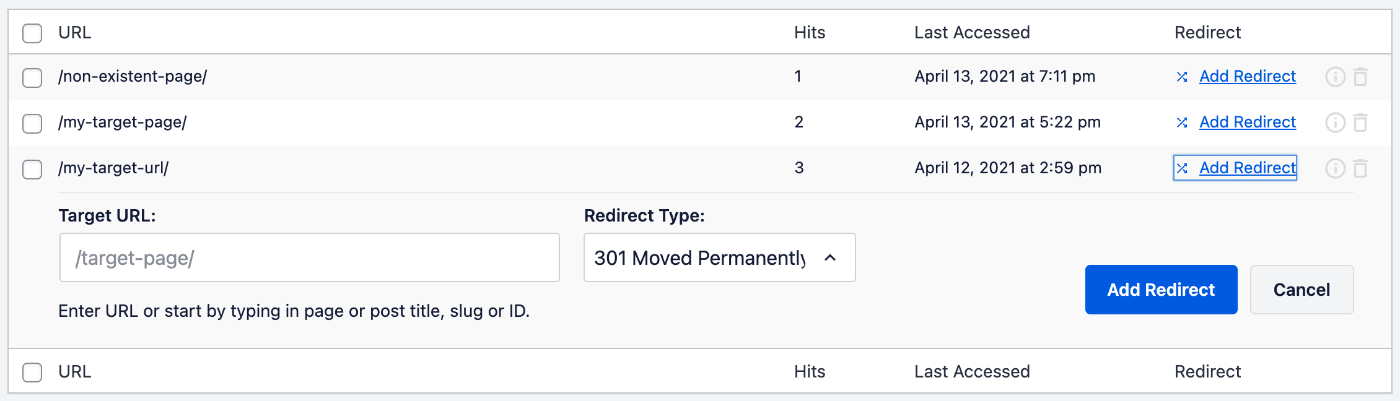 Add Redirect form on the 404 Logs screen