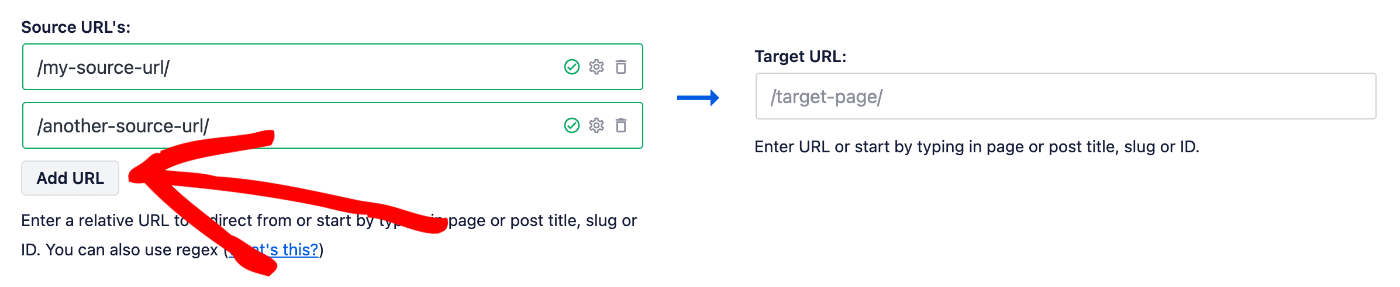 Add URL button under the Source URL field