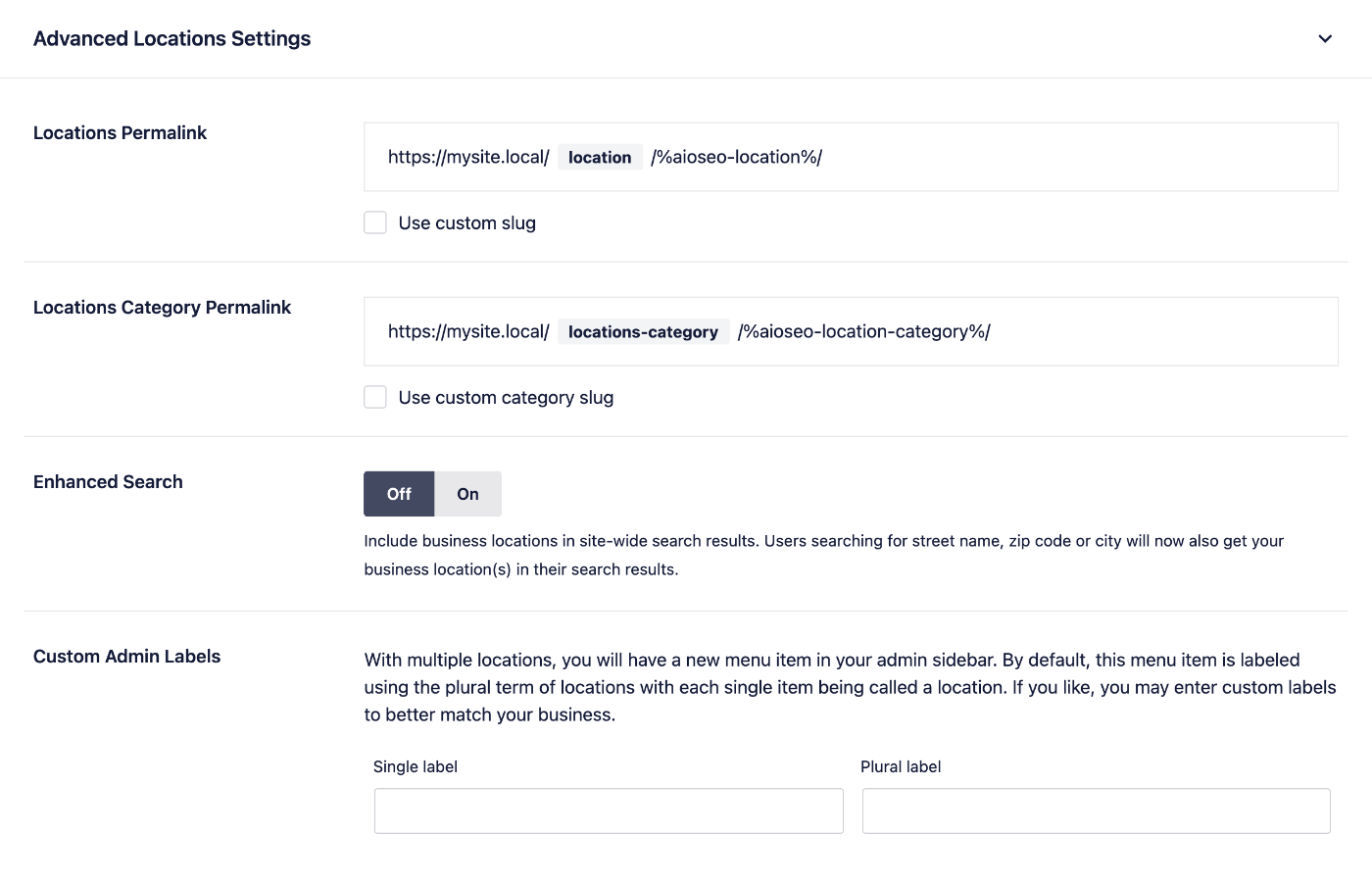 Advanced Locations Settings section in the Local SEO addon