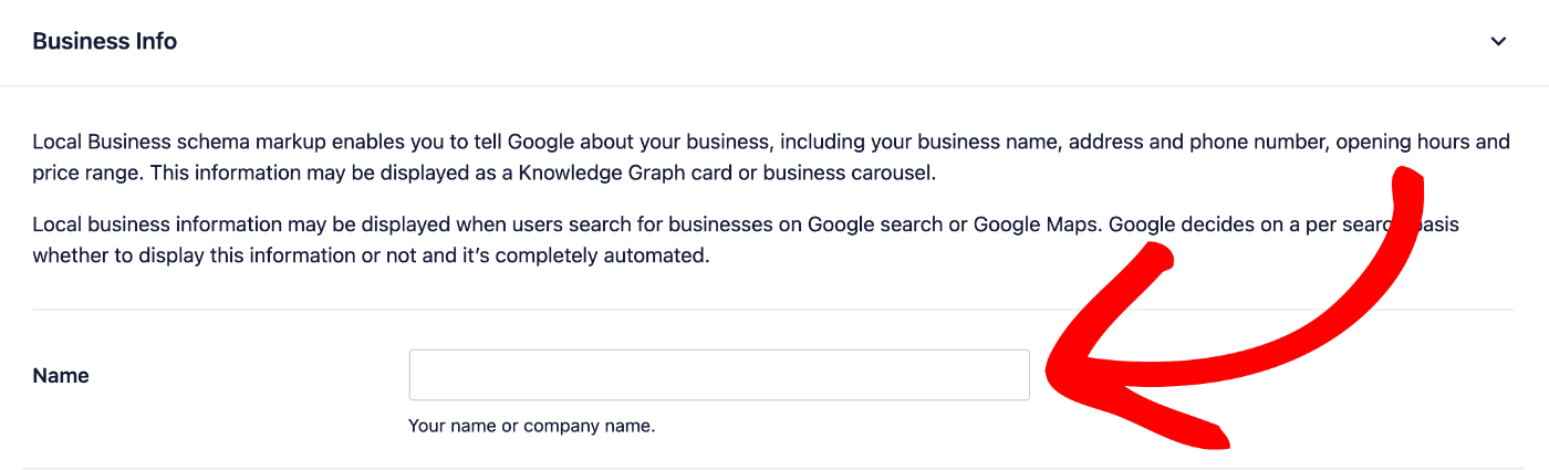Enter the name of your business in the Name field