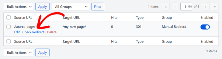 Checking redirect in All in One SEO