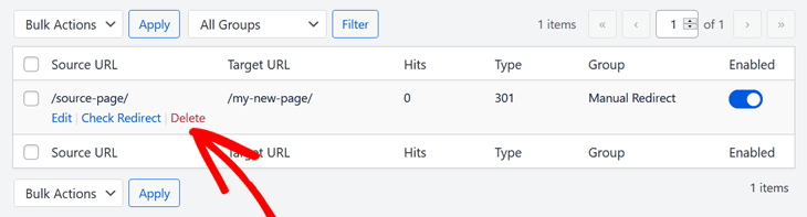Deleting redirects in All in One SEO