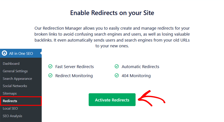 Enable redirects on your site in All in One SEO