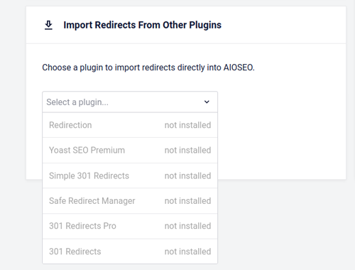 Import Redirects from Other Plugins