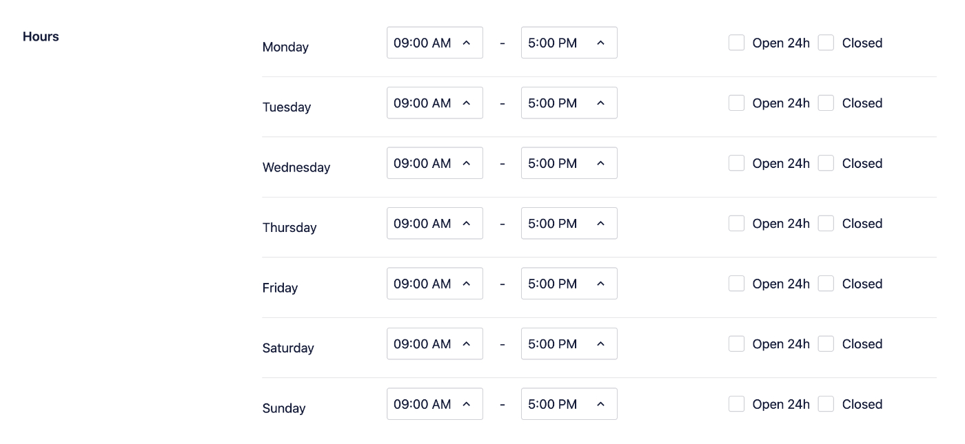 Opening and closing hours settings for each day of the week