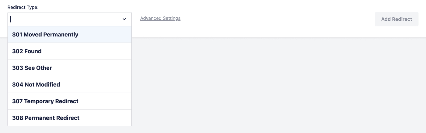 Redirect Type drop down in the Add New Redirection form