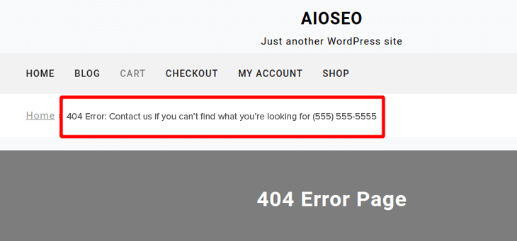 Example of 404 error page in breadcrumb navigation