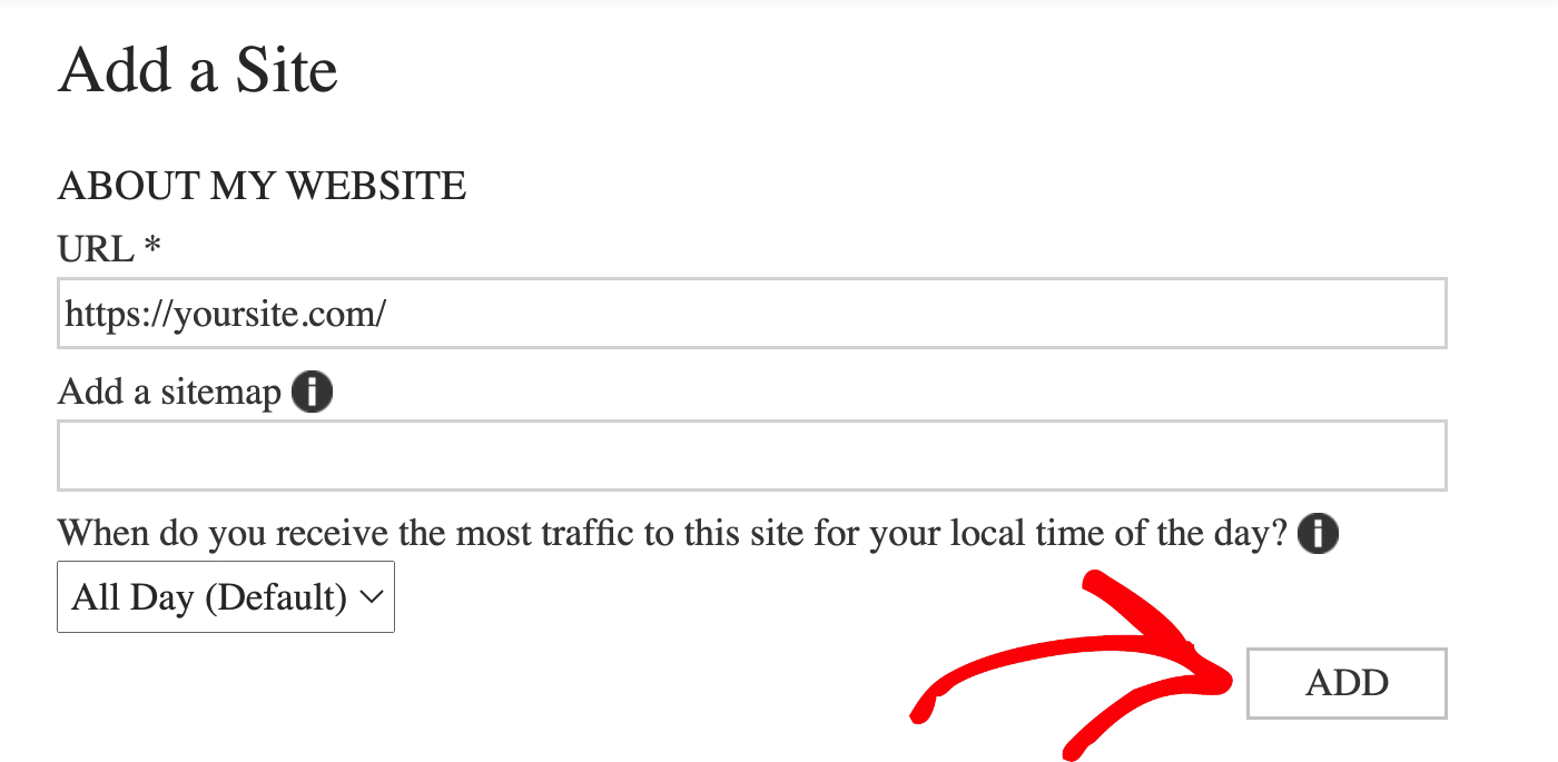 Optionally add your XML sitemap URL on the About My Site screen in Bing Webmaster Tools