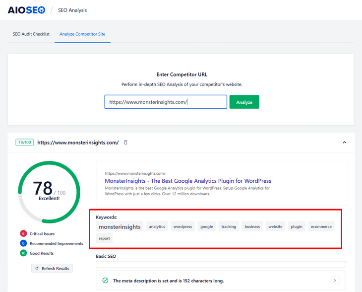 Checking your competitors' keywords  in All in One SEO