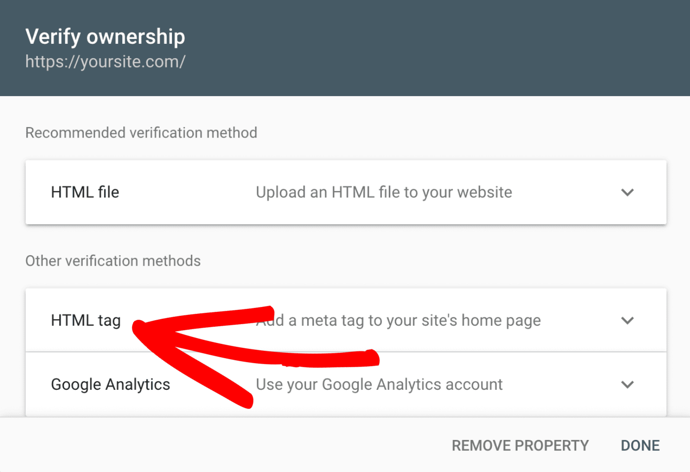 Click on the HTML tag section in the verify ownership screen