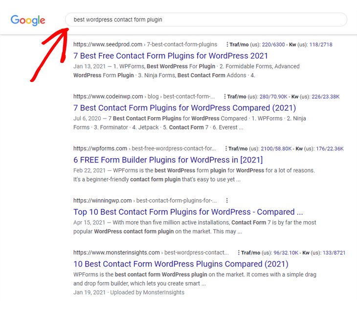 Identifying your competitors on Google