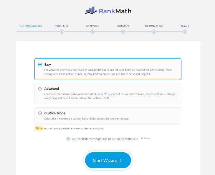 Rank Math's setup wizard