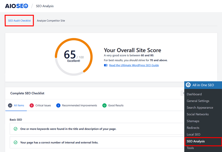 SEO Audit Checklist in All in One SEO