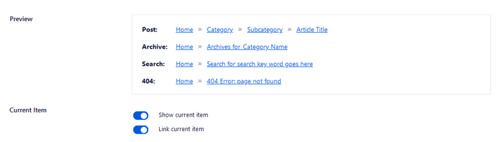 Show and link current item in All in One SEO