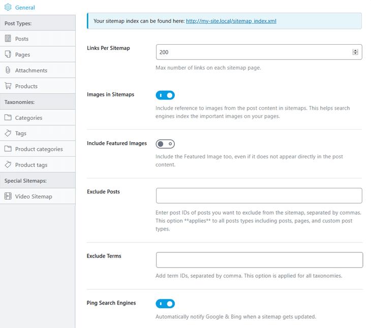 Sitemap settings in Rank Math