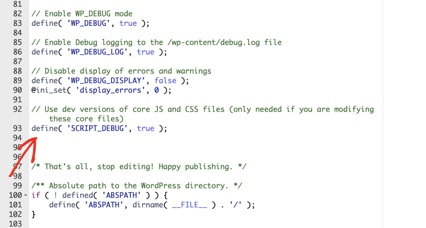 Enable debugging inside the wp-config.php file