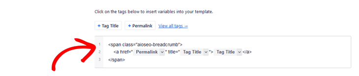 Editing the HTML code to customize your breadcrumbs in All in One SEO