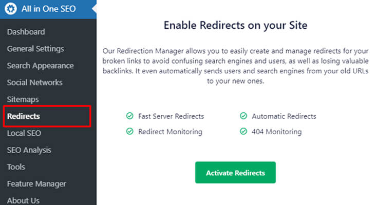 Enable Redirects on Your Site