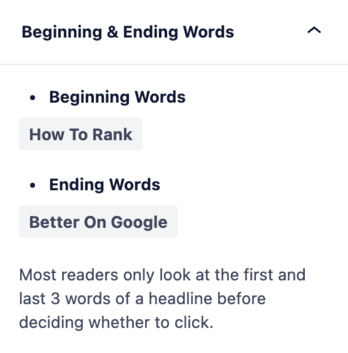 Beginning and Ending Words section in the Headline Analyzer