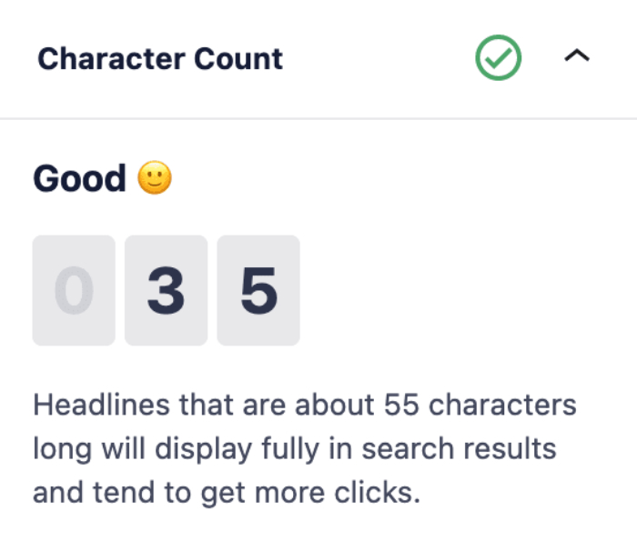 Character Count section in the Headline Analyzer