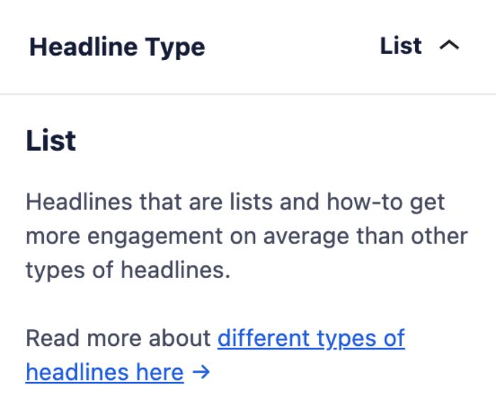 Headline Type section in the Headline Analyzer