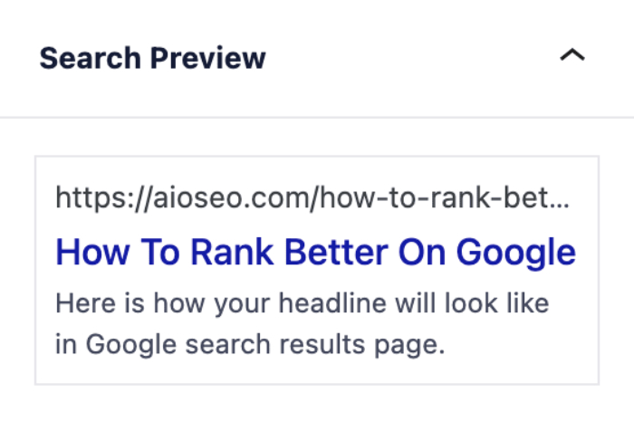 Search Preview section in the Headline Analyzer