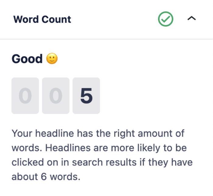 Word Count section in the Headline Analyzer