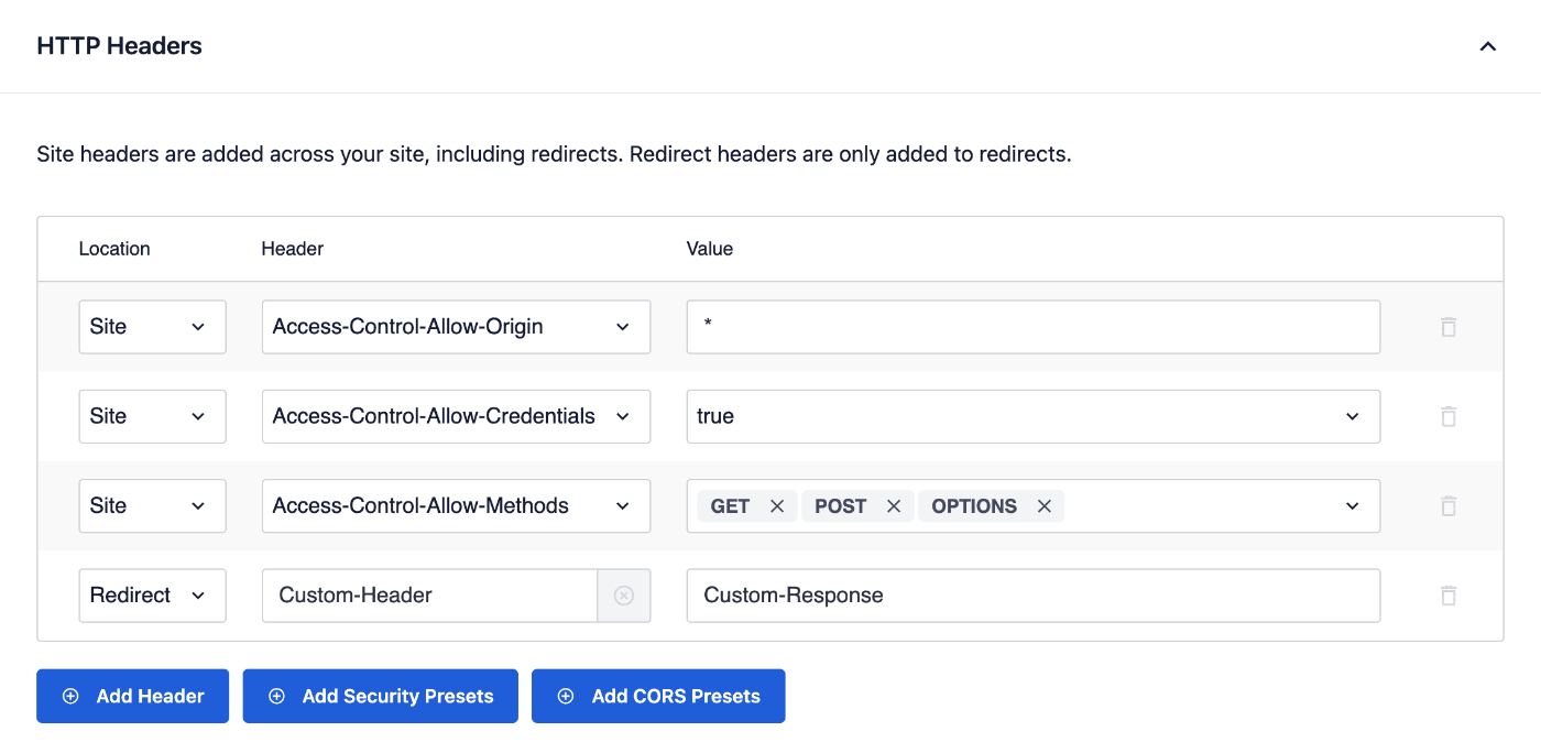 HTTP Headers settings in Full Site Redirects