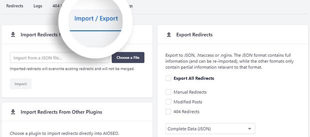 Import Export Redirect