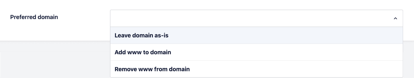 Preferred Domain setting under Full Site Redirects