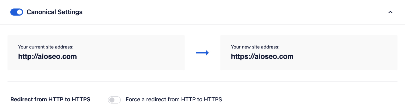 Redirect from HTTP to HTTPS setting under Full Site Redirects