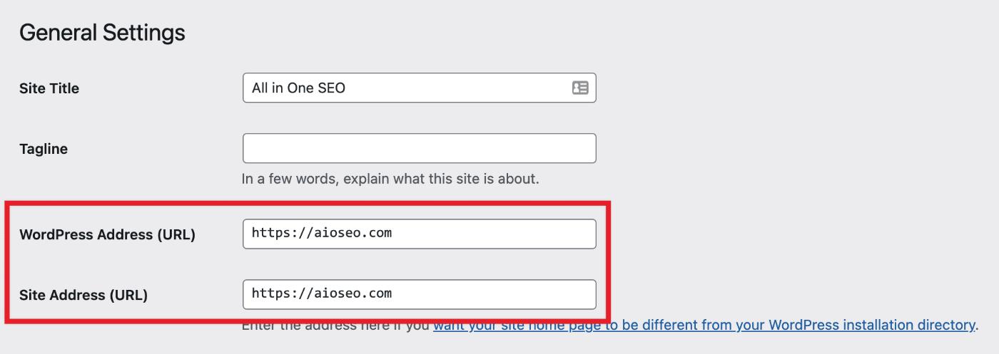 Site Address setting in WordPress