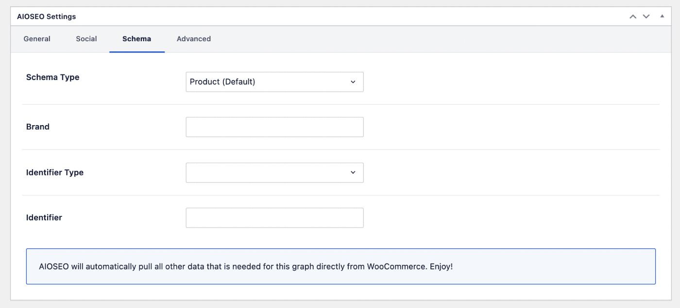 WooCommerce Product fields on the Schema tab of All in One SEO